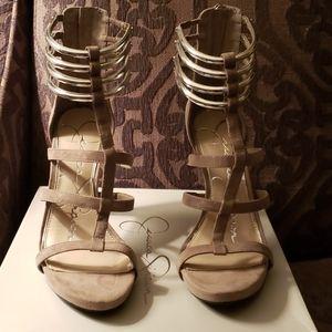 Jessica Simpson Clapton Grey heels.